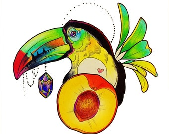 Tucan Crystal Necklace Print FREE SHIPPING IN U.S.A