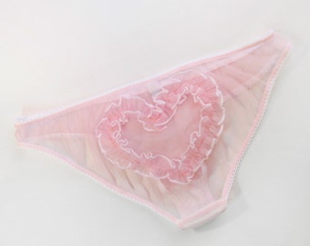 Heart on Her Sleeve: sheer knickers with heart ruffles! pink princess nylon transparent panties, frilly ruffled ruffle ruffles