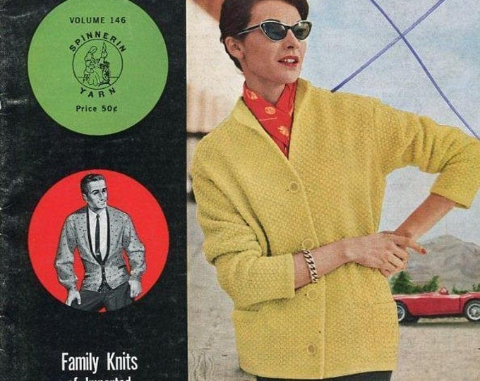 FREE US SHIP Original Book Vintage Retro 1950's 50s Spinnerin 1959 Knitting Fashion Magazine Sailor  double Breasted Coat Middy knit