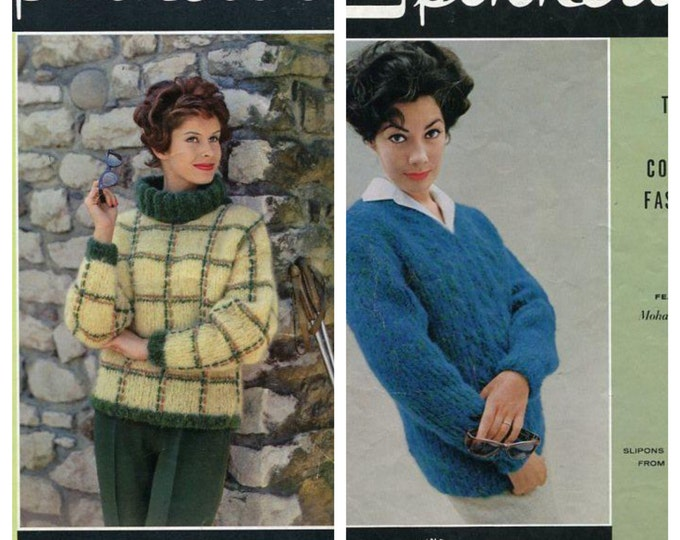 FREE US SHIP Original Book Vintage Retro 1950's 50s Spinnerin Knit Book 155 1960 Mohair Town & Country Fashions Women Fashion Coat Dress