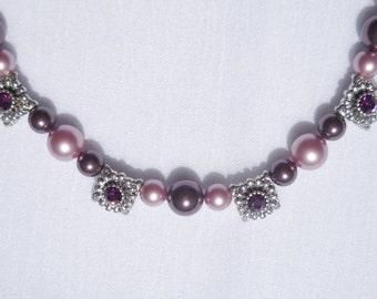 Swarovski crystal pearl and amethyst crystal necklace