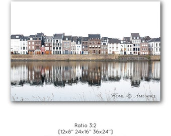 Dutch houses photo print, Dutch decor, Canal houses wall art, Maastricht photography, Dutch art, Large wall art, Big print, Refection canvas
