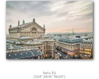 Paris panorama photo print, Fine Art Photography Paris decor, Paris rooftops wall art, Paris shopping district, Large canvas, cityscape