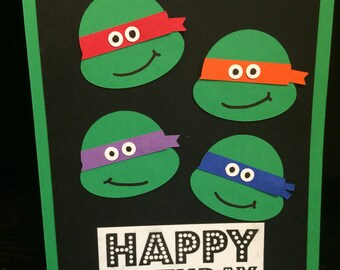 5-pack Ninja and Turtle Birthday Cards