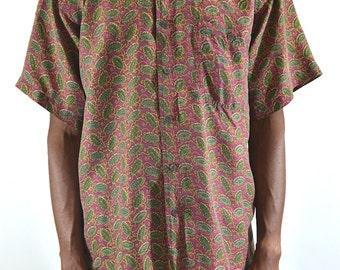 Burgundy Pattern Silk Short Sleeve Shirt