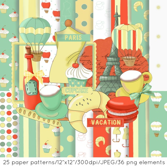Paris scrapbook paper, Paris clipart, Travel digital paper, Paris digital pattern, summer, Cupcake, coffee, macaron,balloon, eiffel tower