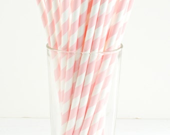 25 Light Pink Diagonal Stripe Paper Straws- The perfect touch for girl baby showers, bridal showers, and pink-themed birthday parties