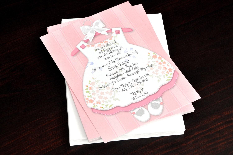 baby girl dress celebration party invitation new baby shower. Black Bedroom Furniture Sets. Home Design Ideas