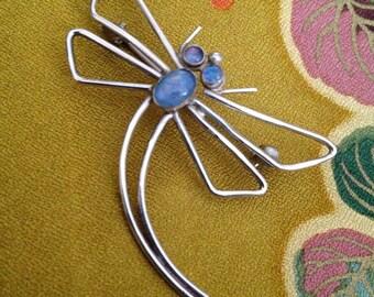 Artisan Modernist Sterling Dragon Fly Pin Brooch
