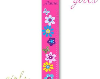 Personalized Girls Growth / Height Chart - Floral