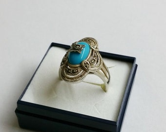 Filigree nostalgic silver ring with turquoise stone and Markasiten antique vintage sterling silver Gr. 19.2 SR535