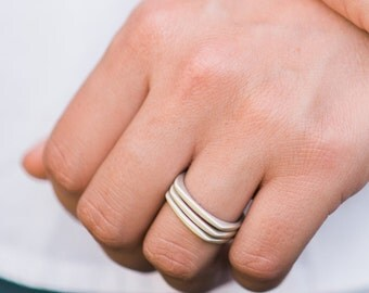 Square Silver Stacking Ring