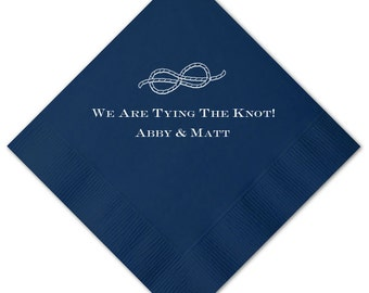 We Are Tying the Knot Nautical Personalized Engagement Party / Bridal Shower Napkins