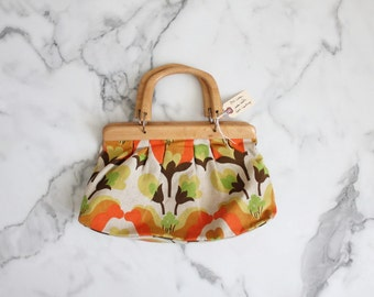60s handbag / wooden handle bag / floral handbag