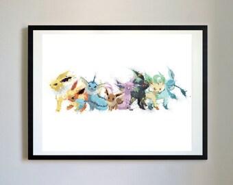 Eevee Evolution (Eeveelution) #1 - Pokemon Paint Splatter - Matte Print Poster Pokemon Art