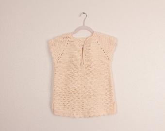 Vintage women's beige knitted sweater