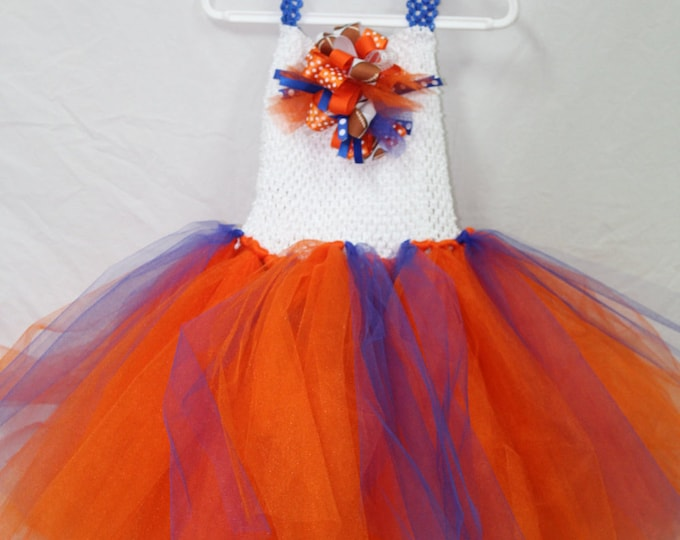 Florida Gator girl tutu dress, University of Florida Dress, Orange and blue tutu,Gator hair bow,UF tutu dress