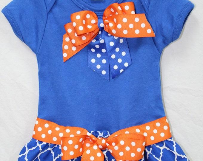 Florida Gators,Florida,Football,Blue and orange baby girl dress,UF Gator bodysuit,University of Florida dress,Blue bodysuit with skirt