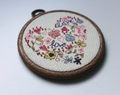 Embellished / Beaded  'LOVE' Cross Stitch in Pink and Blue Framed in 4 Inch Embroidery Hoop  / Gifts under 20 \ Gifts under 25 / Gift