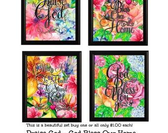 God Bless SET 4 beautiful prints 8X10 High Resolution downloads Praise God-God Bless-Kneel & Pray-God Bless Home (available single prints)