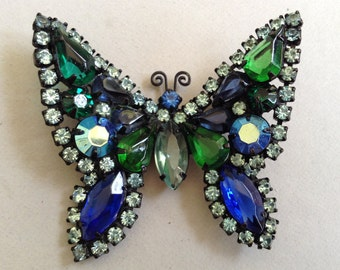 Weiss Signed Blue and Green Japanned Rhinestone Butterfly Pin/Brooch