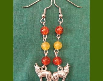 Wolf Spirit EARRINGS, Wolves, Carnelian, Yellow Jade