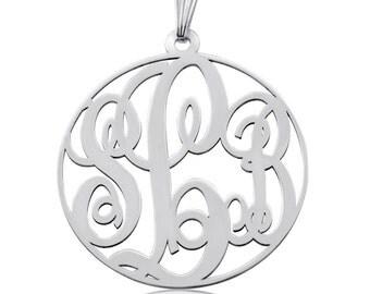Round Monogram Necklace Framed Monogram Necklace Monagram Necklace Silver Mongram Necklace Birthday Gift Mngram monogram 3 initial necklace
