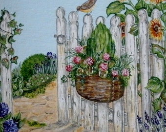 Garden Gate Painting, original fine art acrylic realism landscape home decor cottage chic nature flowers floral french country decor