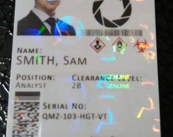 Aperture Laboratories Novelty Cosplay ID Badge Card