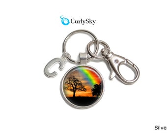 Rainbow Keychain Colorful Rainbow Keyring Colorful Tree Keychain Rainbow Accessory Colorful Sky Tree Keychain Colorful Sky Keychain Keyring