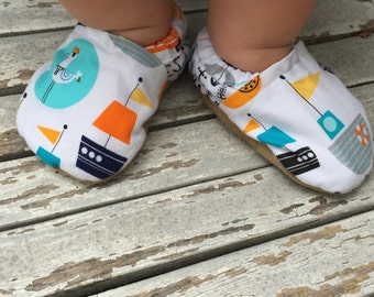 Nautical baby shoes boy baby booties anchor baby shoes soft sole shoes boy toddler shoes vegan baby shoes crib shoes nautical baby sailboat