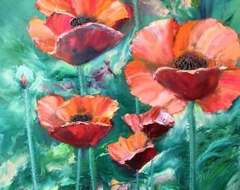 flowers oil painting MAGIC POPPIES -  original contemporary oil painting// bouquet // flowers// flowers oil painting //interior oil painting