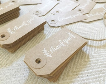 THANK YOU TAGS With Flourish/Design - Set of 10 tags / Calligraphy / Hand Written / Wedding & Party Favor Tags