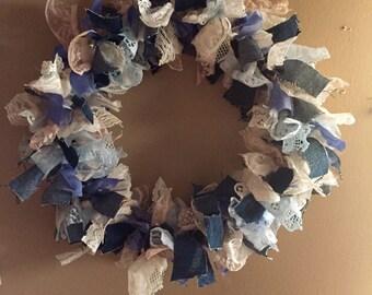 """Rag Wreath """"Denim & Lace"""""""