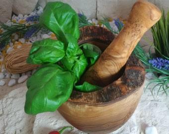 Mortar / pestle olive wood rustic