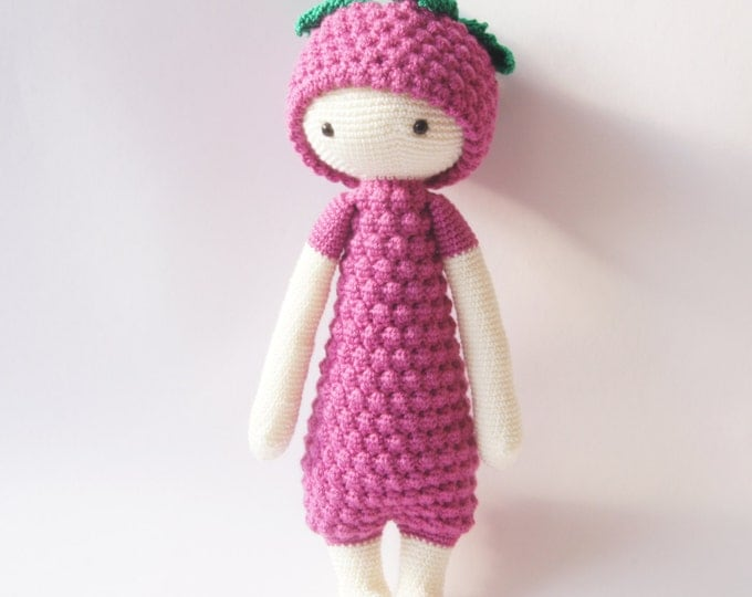 Crochet Toy Doll Amigurumi Lalylala Doll Pink Purple Handmade Berry Grapes Fruit People