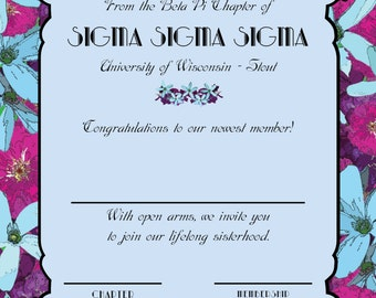 Floral Sorority Bid Day Card - Shop Creates for you