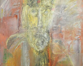 1988 Abstract man portrait vintage oil painting signed