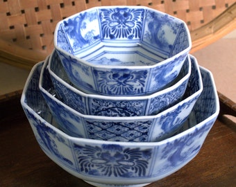 Vintage Blue Glaze Nesting Bowls