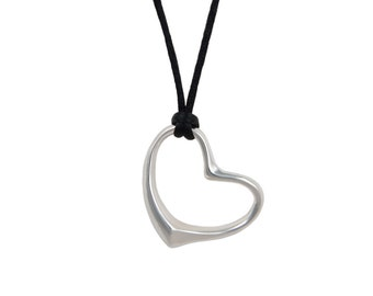 Large Silver Heart Pendant on a Cord