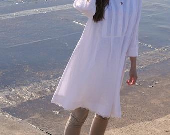White linen dress, linen tunic dress, linen womens clothing,  loose linen dresses for women, linen summer dress, xl linen dress