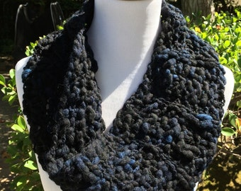 Deep Blue Textured Wool Cowl Scarf