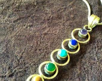 Healing Chakra brass pendant - 7 crystal gemstones Yoga / Sacred Jewellery