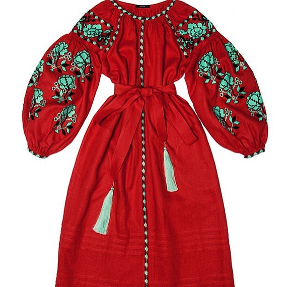 Ukrainian Embroidered Dress Boho Style By EmbroideredDream