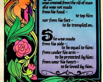 Vintage 1974 BLACKLIGHT~WOMAN~Garden of Eden FLOCKED Poster 11X17