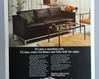 1968 Simmons Hide-a-Bed Sofa Print Ad