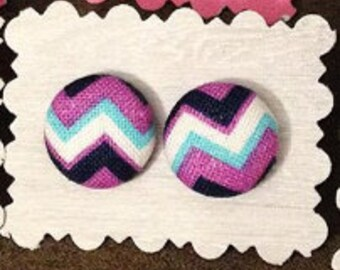 Covered Button Stud Earrings - Chevron Print
