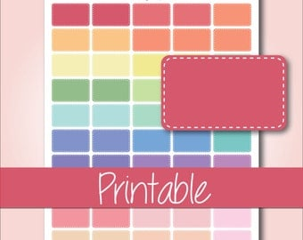 Pastel Stitched Half Boxes | Printable Planner Stickers for Erin Condren Planners - Instant Download
