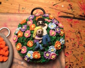 """Mini """"Lovers in a Field of Flowers"""" Key Chain...........VERY Unique....Handcrafted/Artisan Made.......Must See!!"""