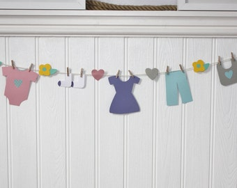 Baby Girl Paper Clothesline Bunting